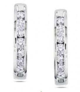 Pendientes de diamantes en talla brillante engastado en oro blanco de 18kts