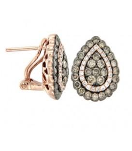 Pendientes de diamantes en talla brillante.
