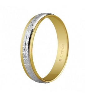 WEDDING RING BICOLOR 4MM FACETED