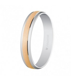 WEDDING RING ROSE AND WHITE GOLD 4MM