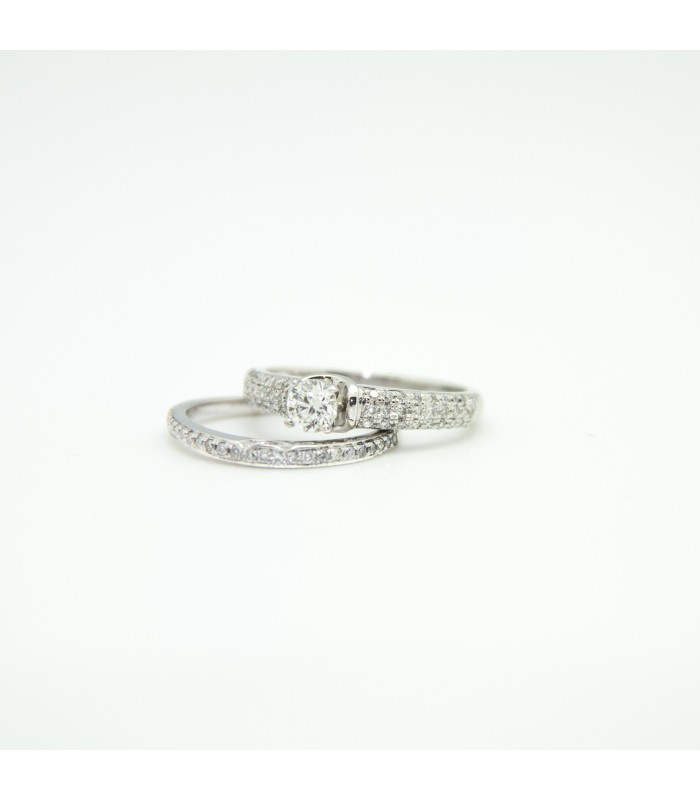 0a7af50f4be4 Double engagement ring with diamond with certificate of autenticity