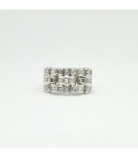 Sortija oro blanco 18 kts con diamantes