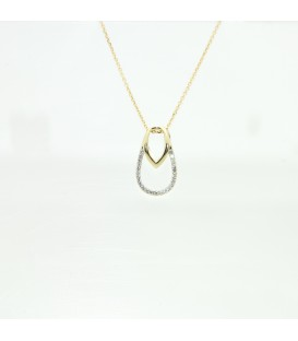 9 kts yellow gold necklace with diamonds