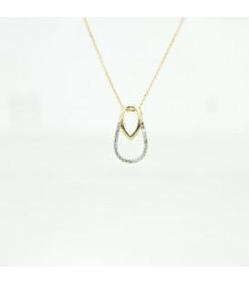 Colgante con cadena en oro amarillo de 9 kts con diamantes