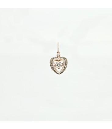 """Colgante """"dancing diamond"""" en oro rosa 14 kts con diamantes"""