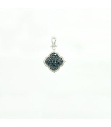 Colgante de oro blanco 14 kts con diamantes