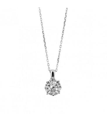 Cadena con colgante con diamantes en oro blanco 18 kts