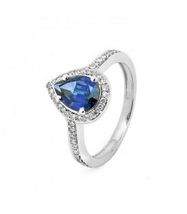 Sortija de zafiro azul y diamantes en oro blanco de 18 kts