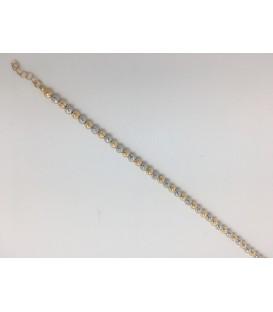 Pulsera bicolor oro blanco y oro amarillo 18 kts con corte de diamante