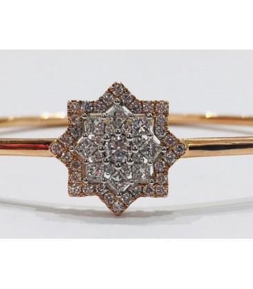 Pulsera Rigida estrella de oro rosa de 14 cts con diamantes