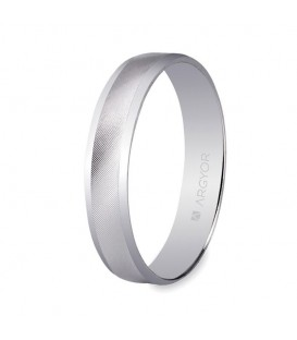 WEDDING RING WHITE GOLD 4MM CENTRAL BAND DIAGONAL