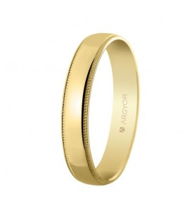 WEDDING RING 4MM IN GLOSSY GOLD AND FACETS