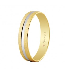 WEDDING RING YELLOW AND WHITE GOLD 4MM