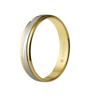 WEDDING RING BICOLOUR IN TWO GOLD STRIPED MATTE 4MM
