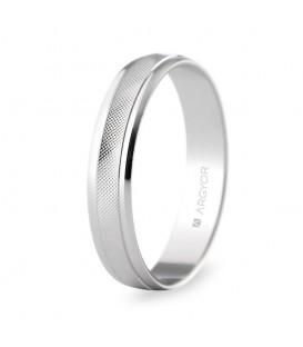 WEDDING RING WHITE GOLD 4MM ROMBOS