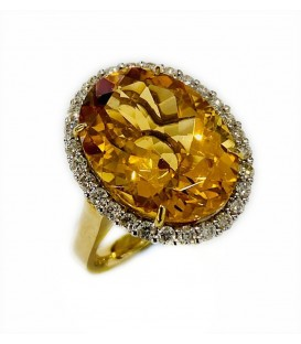 18 KTS BICOLOR GOLD RING WITH CITRINE TOPAZ AND DIAMONDS