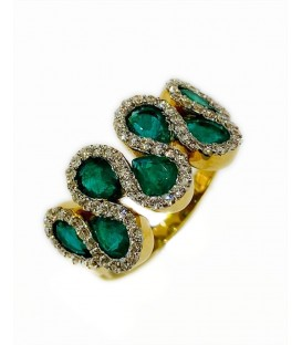 18 KTS BICOLOR GOLD RING WITH EMERALDS AND DIAMONDS
