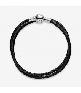 Bracelet Pandora Double Black Leather