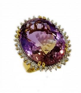 Sortija de Ametrina y diamantes montado en oro amarillo 18 cts.