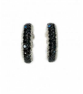 14 KTS WHITE GOLD EARRINGS WITH BLACK AND WHITE DIAMONDS