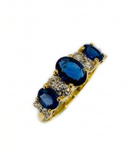18 KTS BICOLOR GOLD RING WITH SAPPHIRE AND DIAMONDS