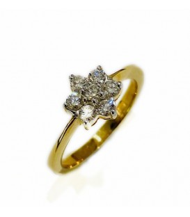 18 kts bicolor gold ring with diamonds