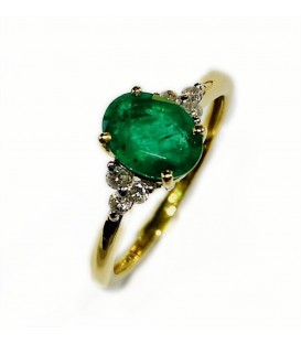 18 kts yellow gold ring with emeralds and diamonds