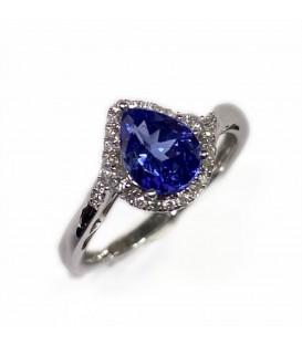 14 kts white gold ring with tanzanite and diamonds