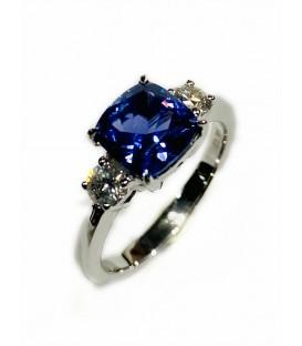 Ring of tanzanite and diamonds.