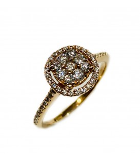 14 kts rose gold ring with diamonds