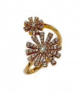 Sortija espiral de diamantes montado en oro rosa de 14 kts