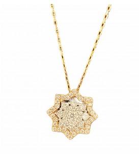 Colgante estrella de diamantes con cadena montado en oro de 14 kts