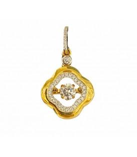 Dancing diamond pendant in 14 kts yellow gold with diamonds
