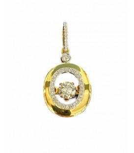 Dancing diamond pendant in 14 kts rose gold with diamonds