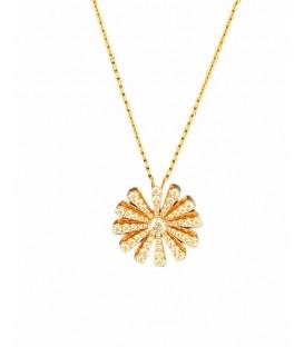 Colgante de diamantes en espiral con cadena montado en oro rosa de 14 kts
