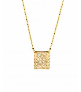 Colgante de diamantes con cadena montado en oro rosa de 14 kts